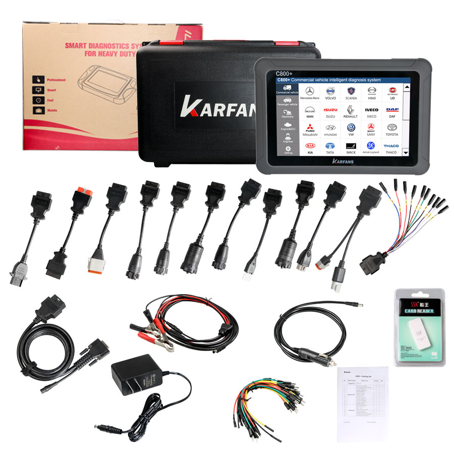 CAR FANS C800 Diesel & Gasoline Vehicle Diagnostic Tool for Commercial Vehicle, Passenger Car, Machinery with Special Function