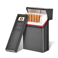 CC035A Brand New Detachable Metal Cigarette Case with USB Rechargeable Eletronic Lighter