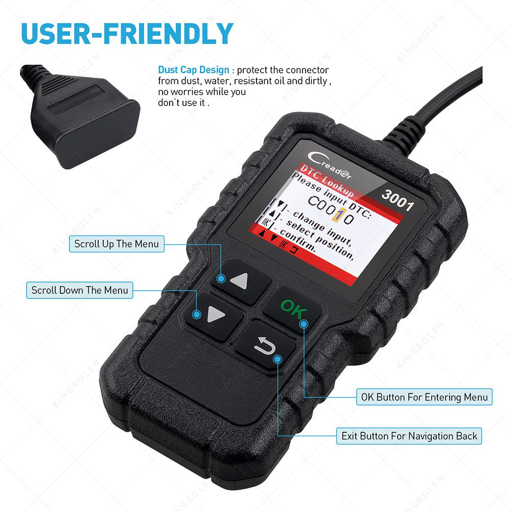 LAUNCH X431 CR3001 OBD 2 CAR Code Reader Support Full OBDII/EOBD Launch Creader 3001 CR3001 Auto Scanner PK AD310 NL100 ELM327